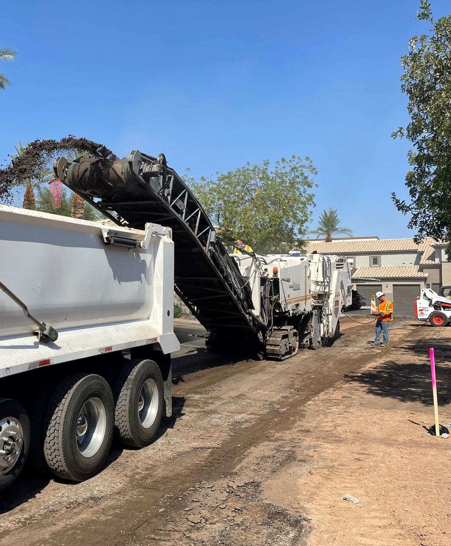 asphalt milling in progress at phoenix condo complex