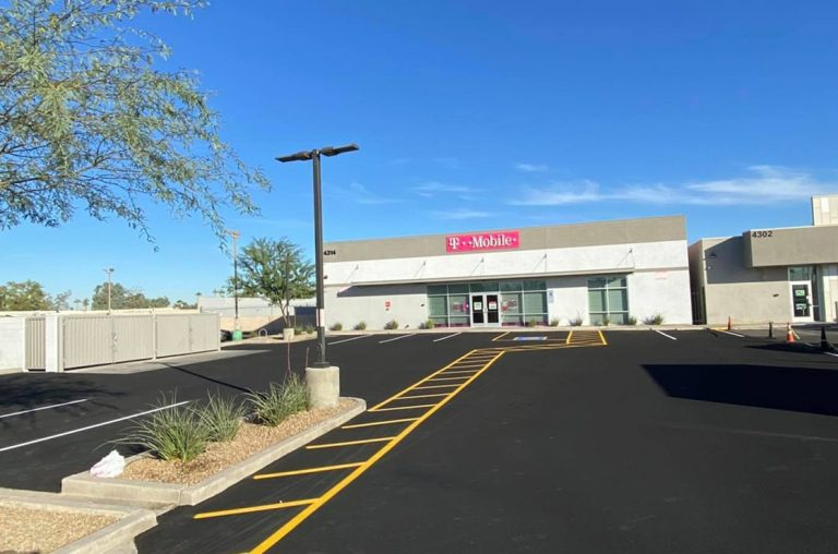 t-mobile parking lot in phoenix after sealcoating and line striping
