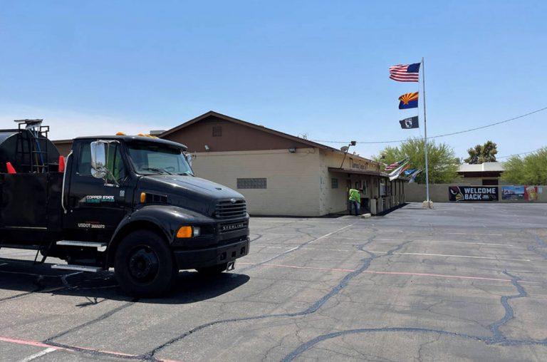 crack filling parking lot at american legion in avondale arizona