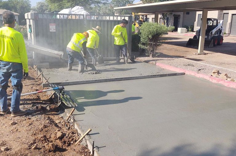 laying concrete for dumpster pad