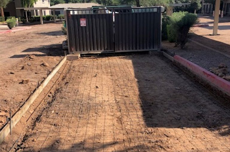 grading and excavation for concrete dumpster pad