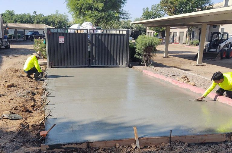 leveling concrete for dumpster pad